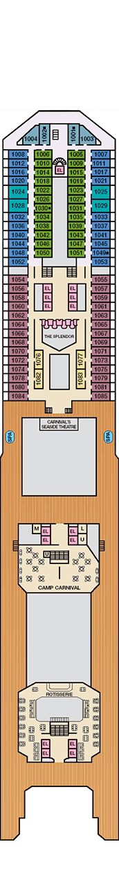 Carnival Splendor Deck plan & cabin plan on